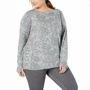Ideology Women's Floral Lace-Up Top Gray